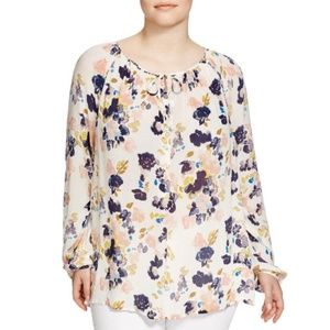 Lucky Brand LS Floral White Tunic Blouse